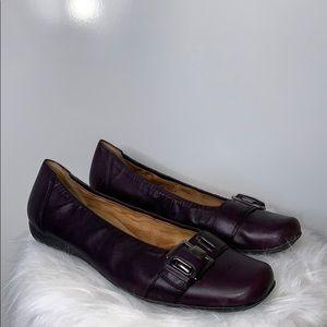 GABOR • Plum Comfort Buckle Leather Flats Shoes